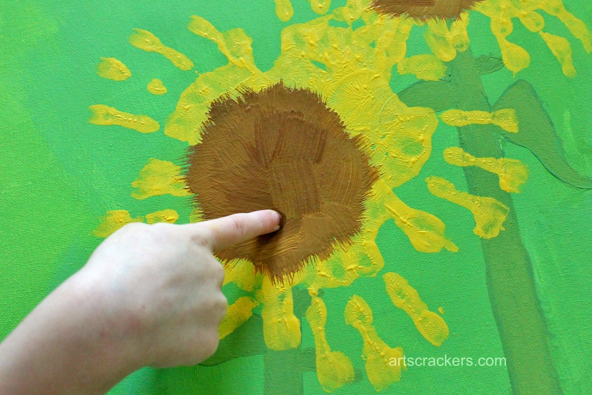 Handprint Sunflowers Canvas Step 8