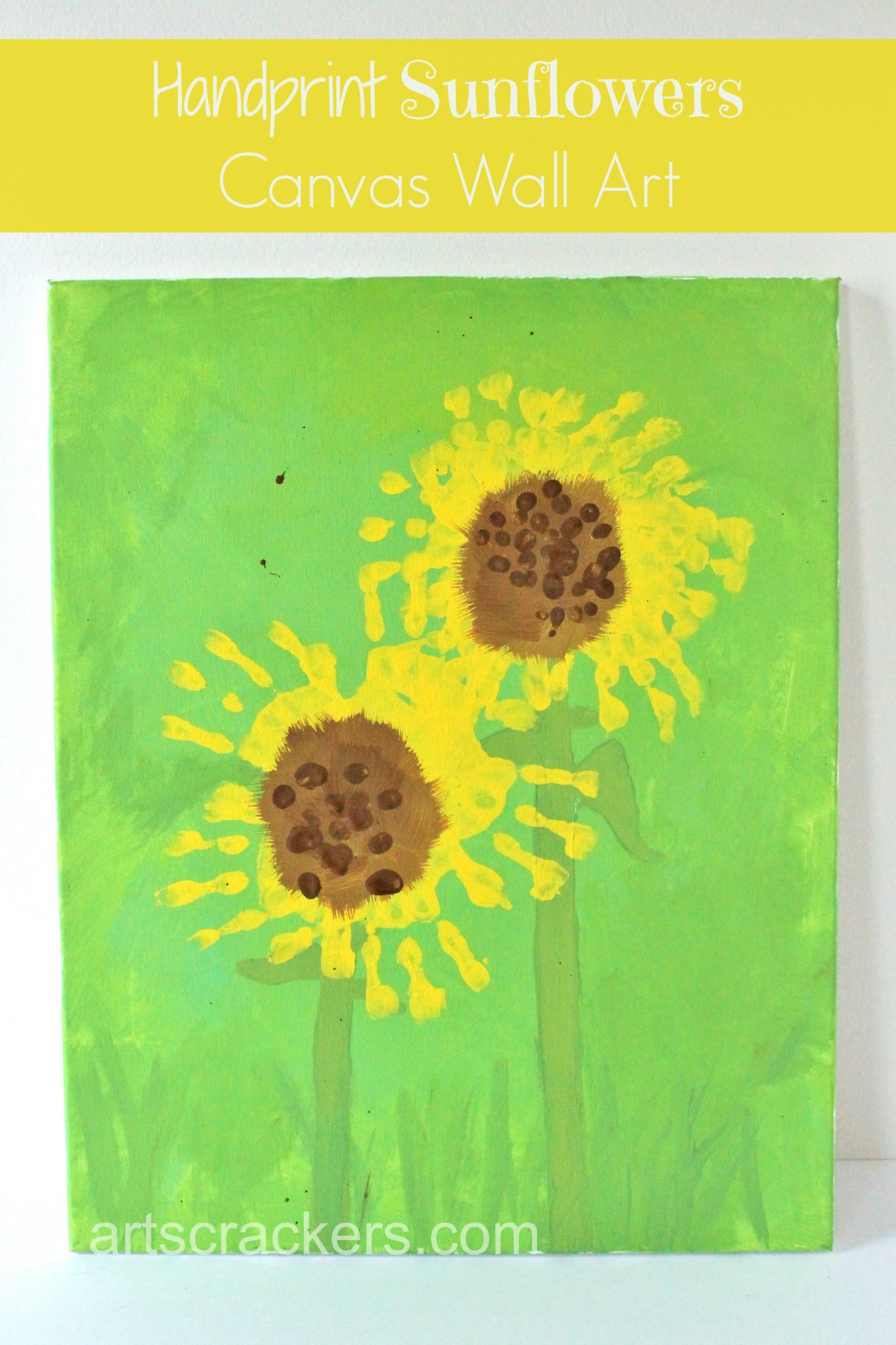 Handprint Sunflowers Canvas Wall Art. Click the picture to view the instructions.