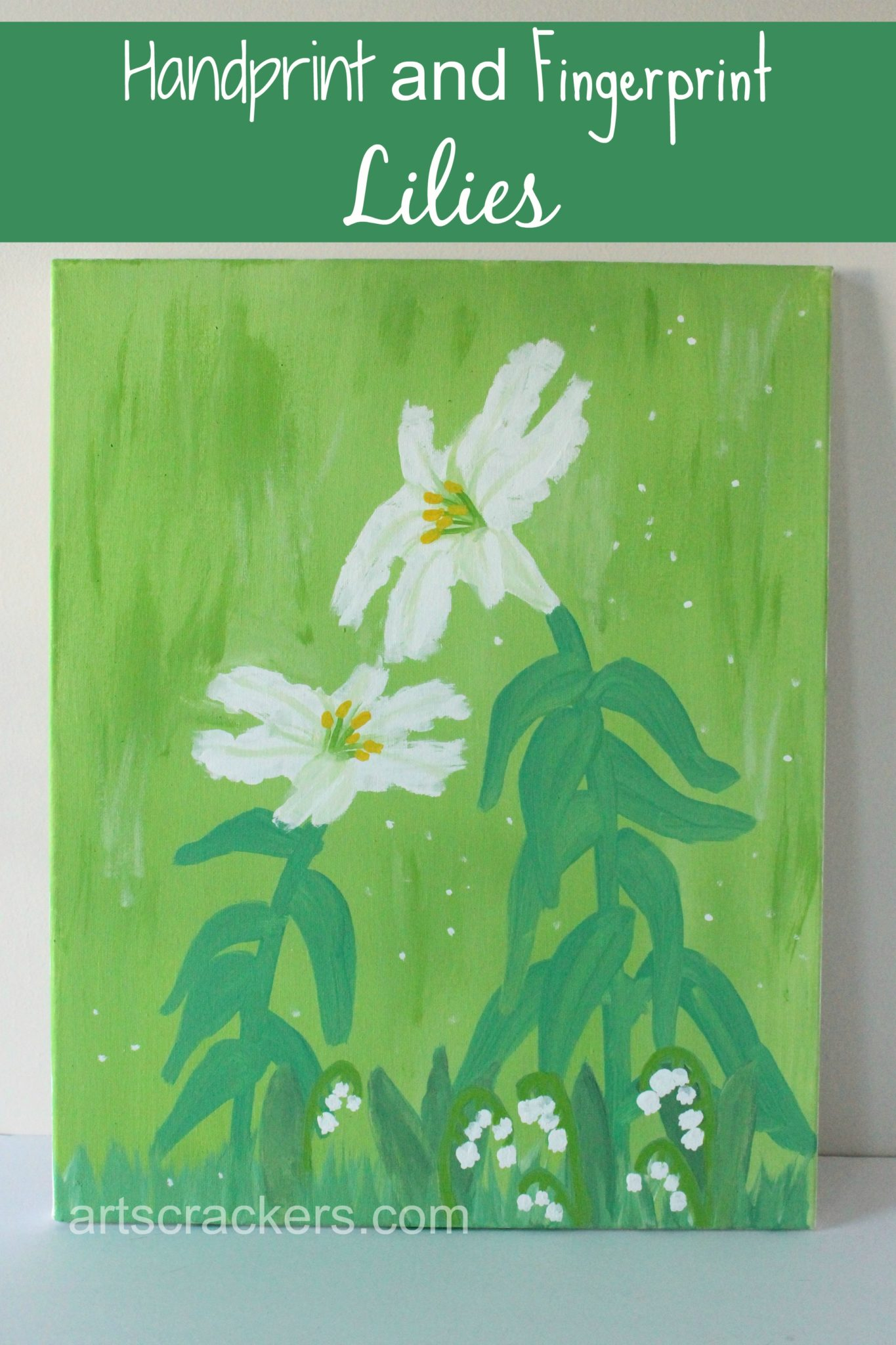Handprint and Fingerprint Lilies Canvas Art. Click the picture to view the tutorial.