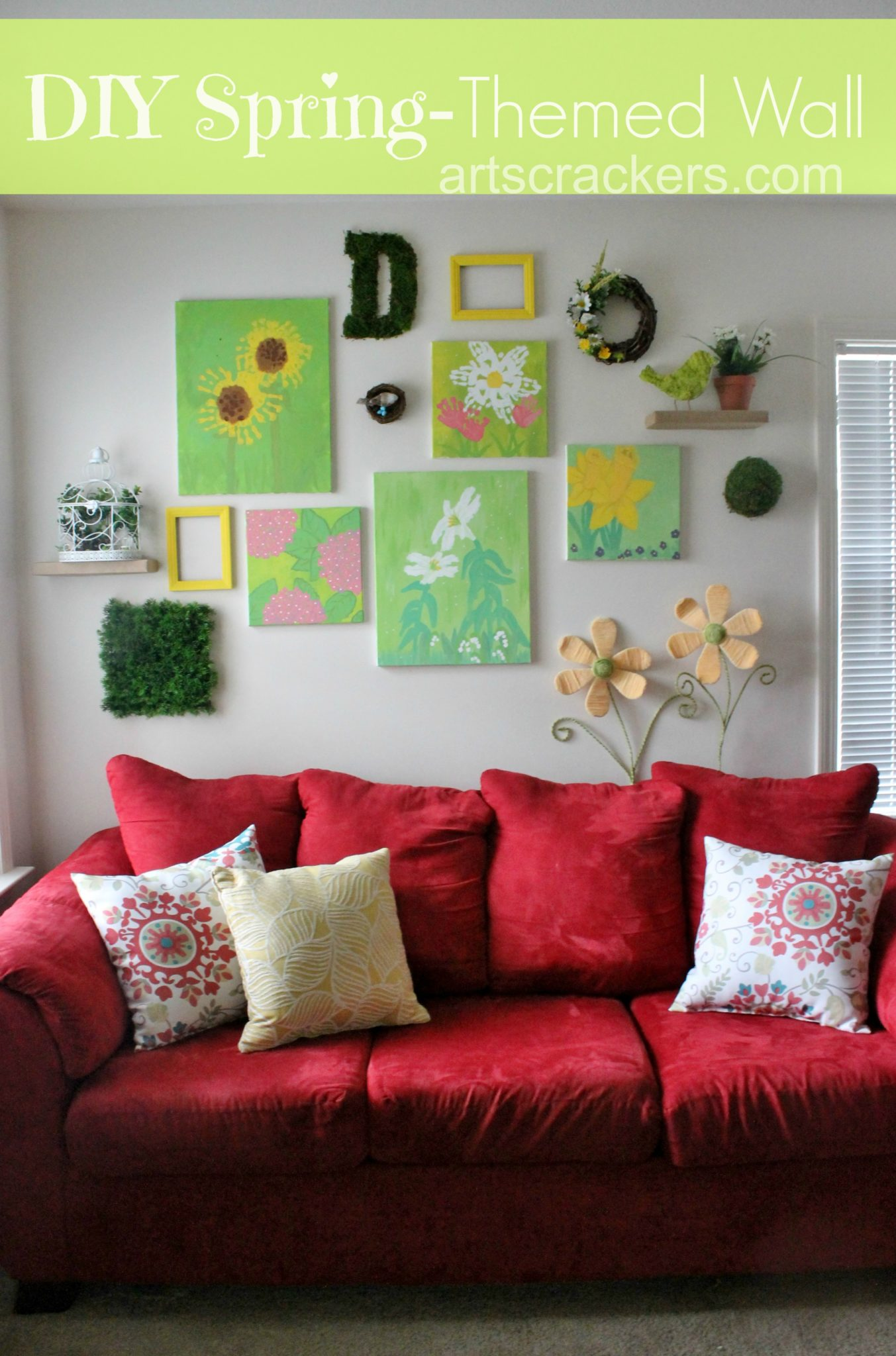 DIY Spring Themed Wall Decor. Click the picture to see how it's done.