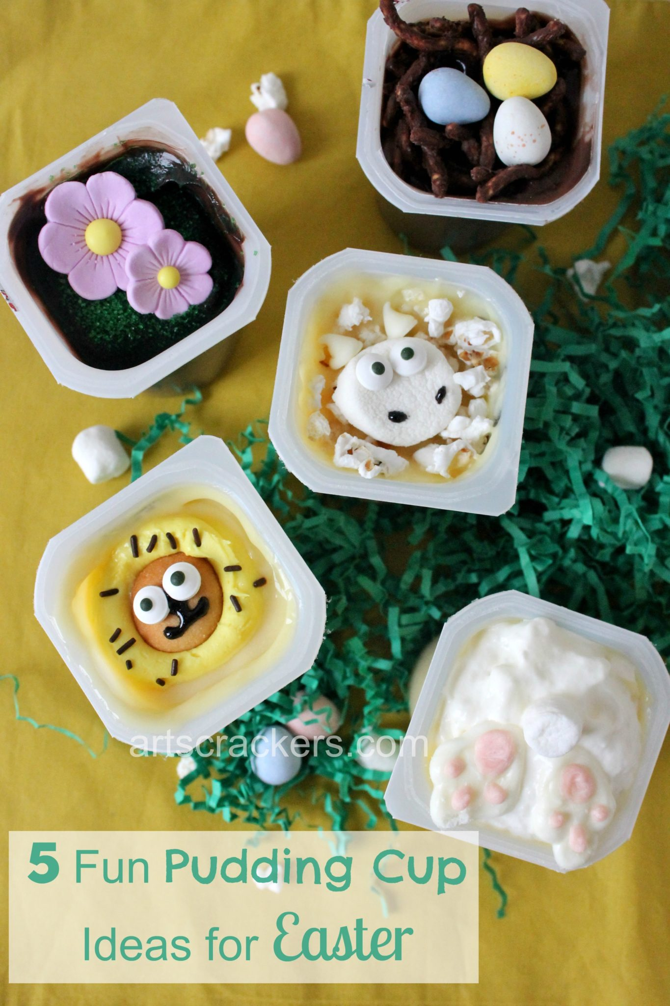 Snack Pack Mix Ins Five Fun Pudding Cup Ideas for Easter. Click the picture to view instructions.
