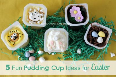 Snack Pack Mix Ins Five Fun Pudding Cup Ideas for Spring and Easter. Click the picture to view instructions.