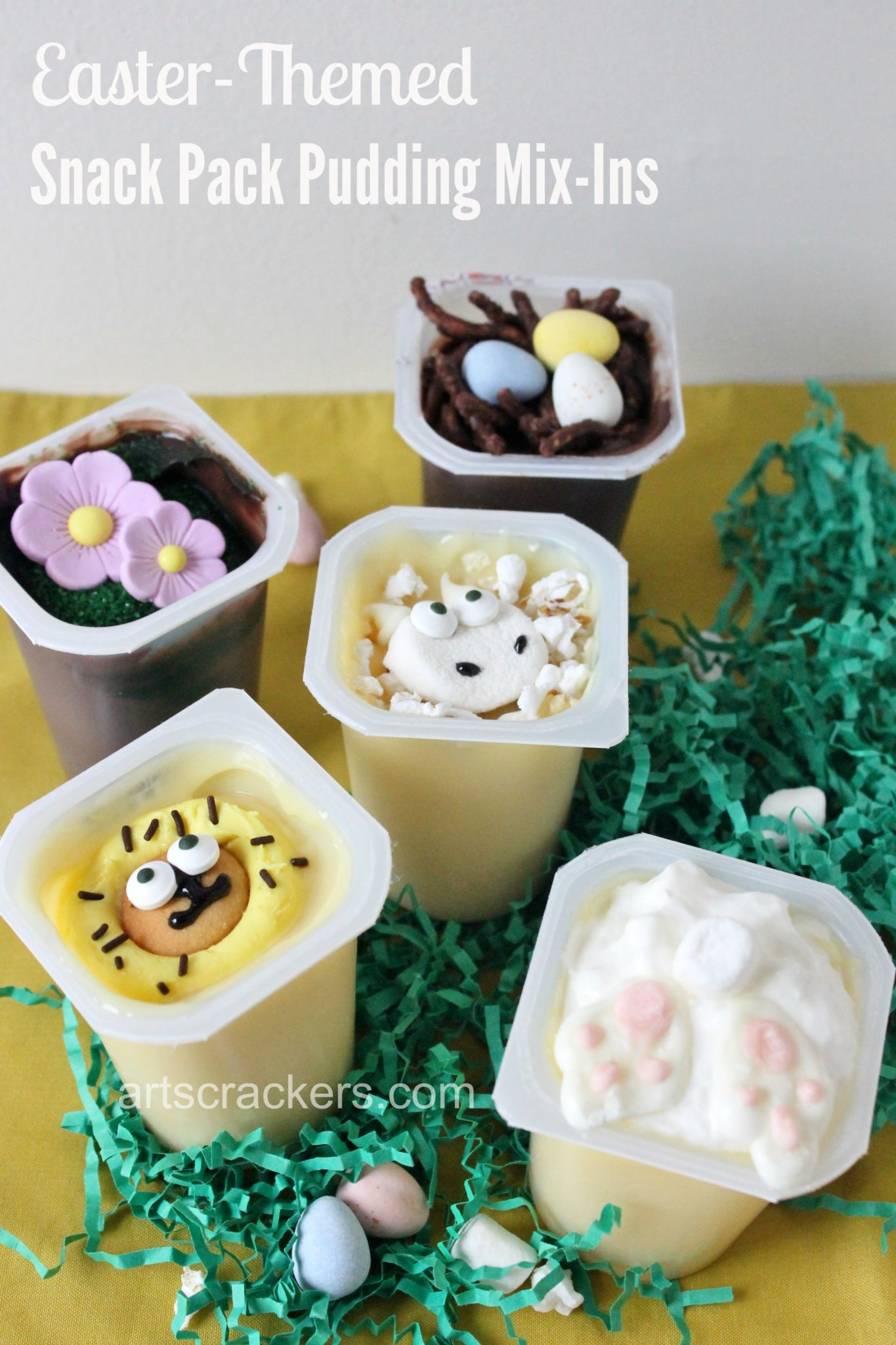 Snack Pack Pudding Easter Themed Mix Ins. Click the picture to view instructions.