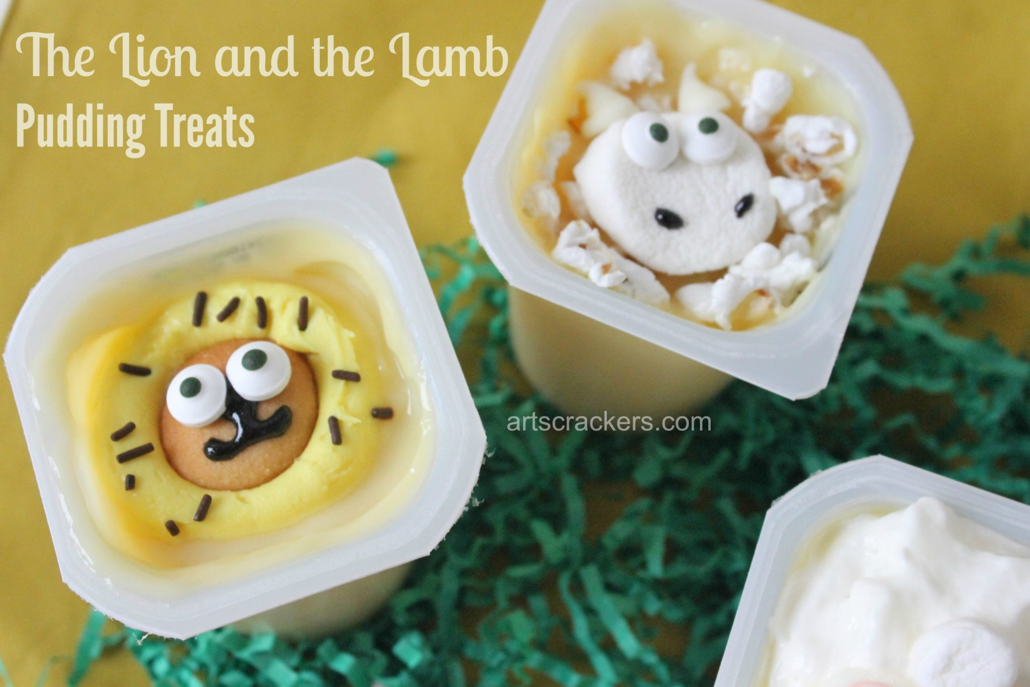 Snack Pack Pudding Lion and Lamb. Click the picture to view the instructions.