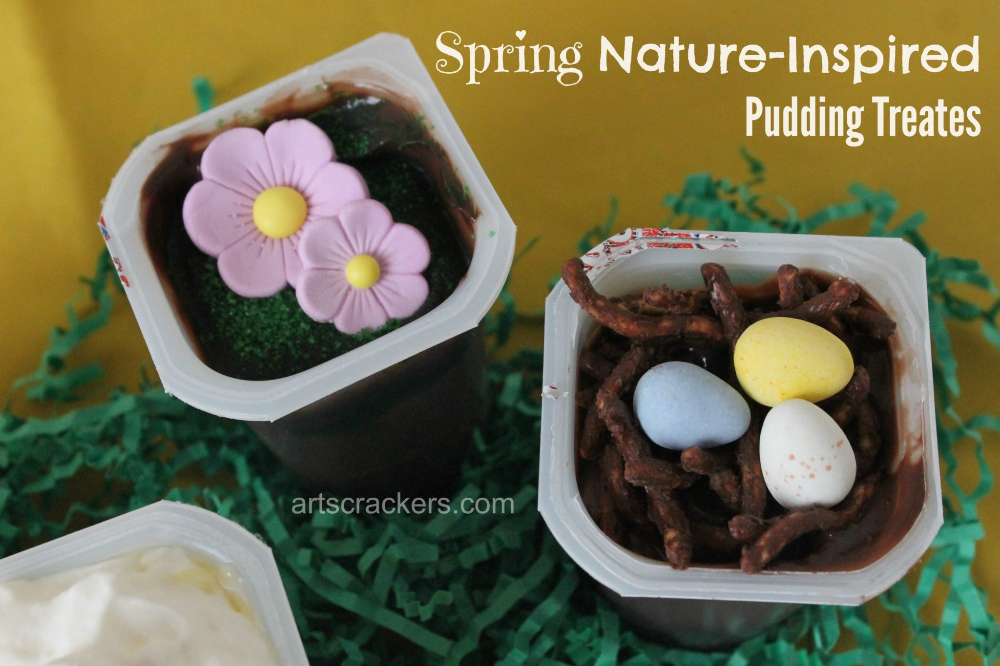 Snack Pack Pudding Mix Ins Flowers Patch and Bird Nest. Click the picture to view instructions.
