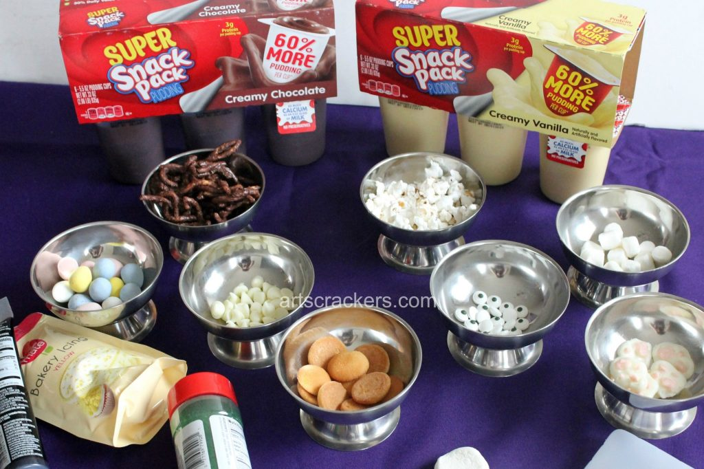 Snack Pack Pudding Mix Ins for Easter. Click the picture to view my creations.