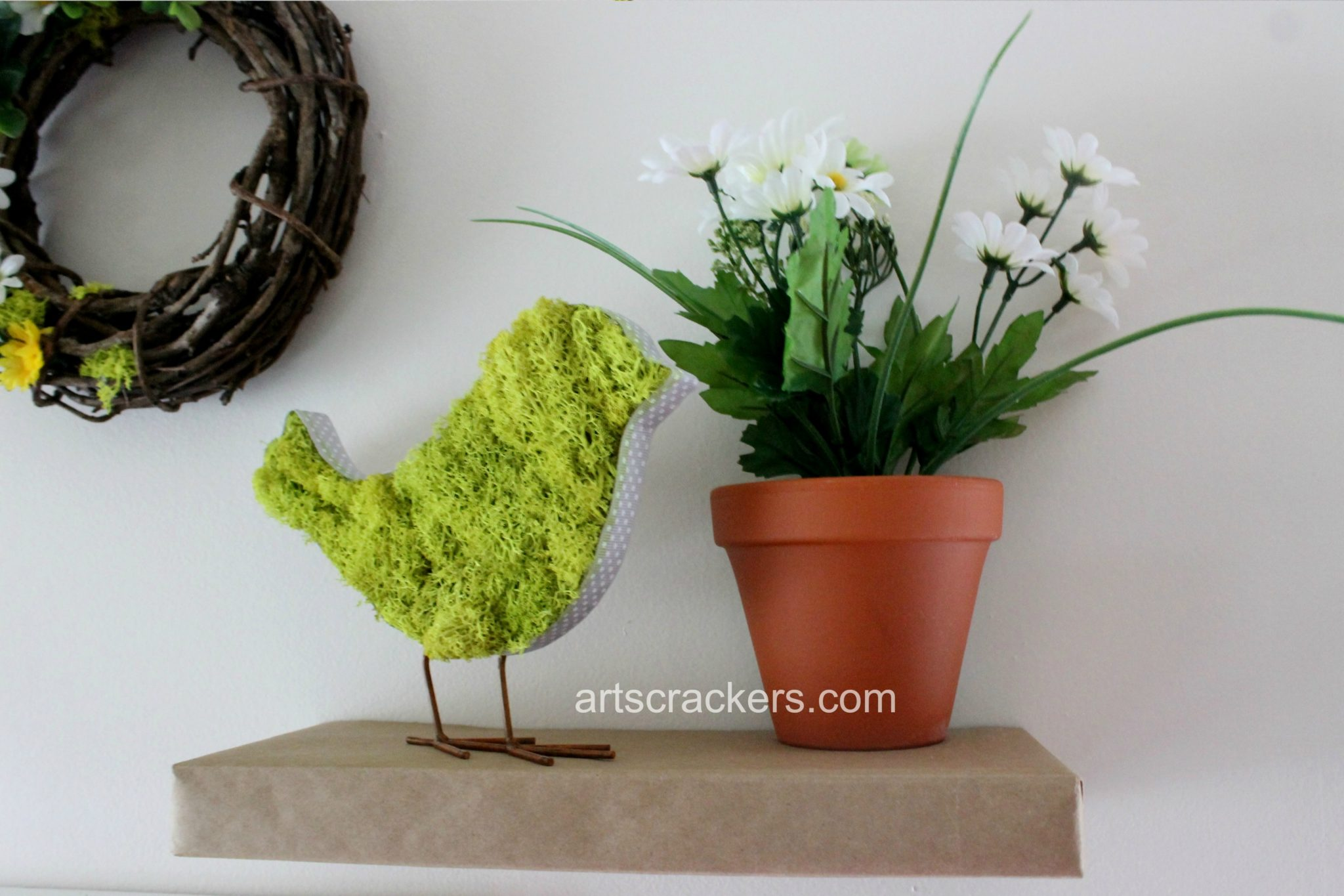 Spring Wall Bird and Flower Pot
