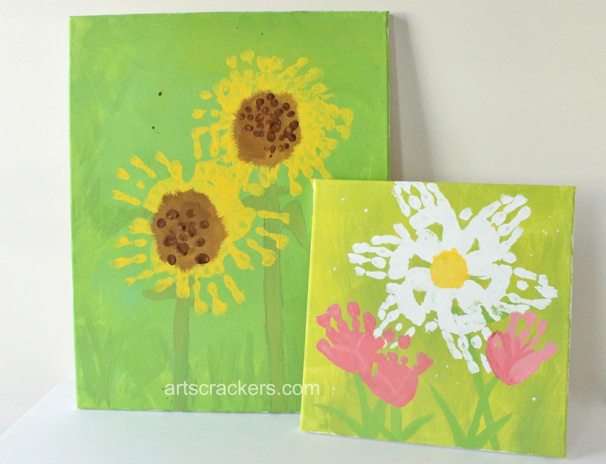 Spring Wall Handprint Flowers