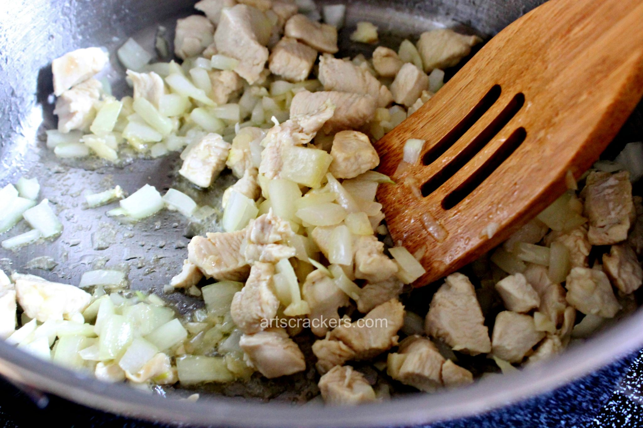 Chicken and Lentil Soup Saute Chicken and Onions