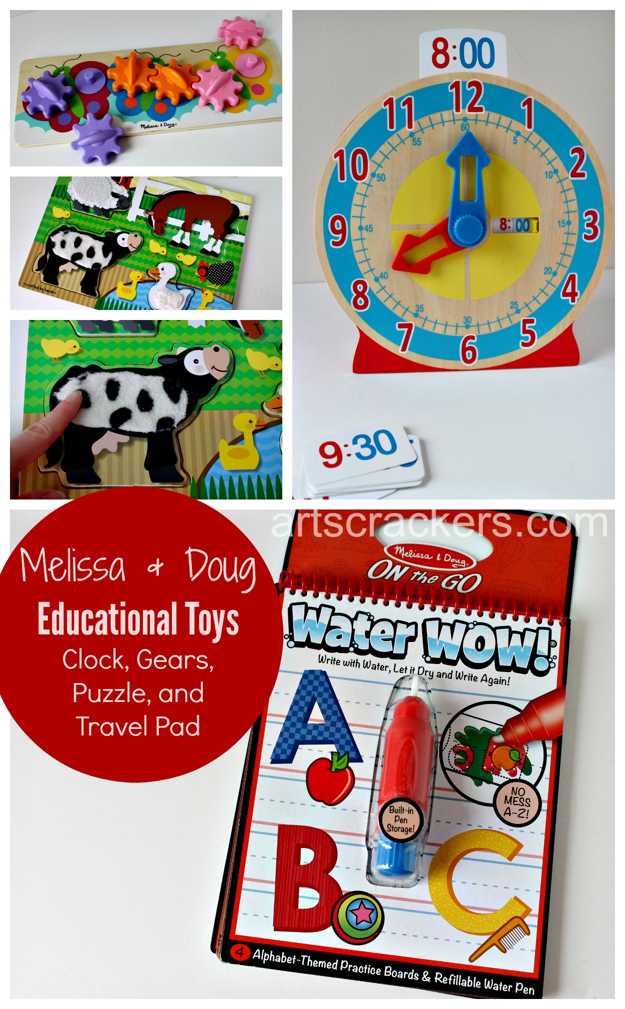 Melissa and Doug Educational Toys Clock, Gears, Puzzle, and Travel Pad. Click the picture to read the review.