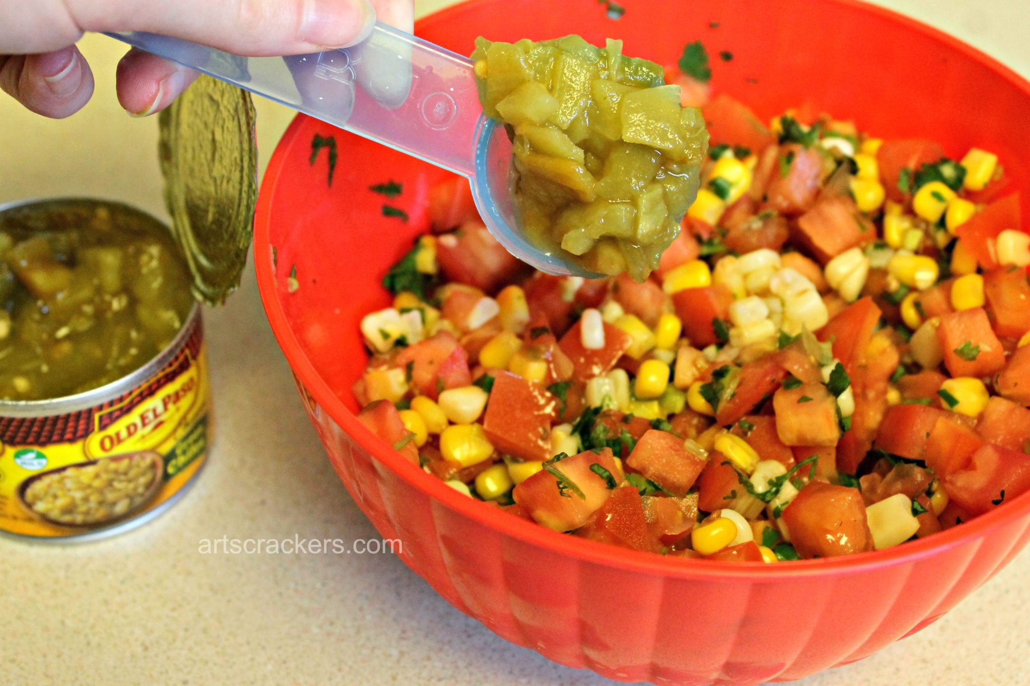 Old El Paso Green Chilies into Salsa