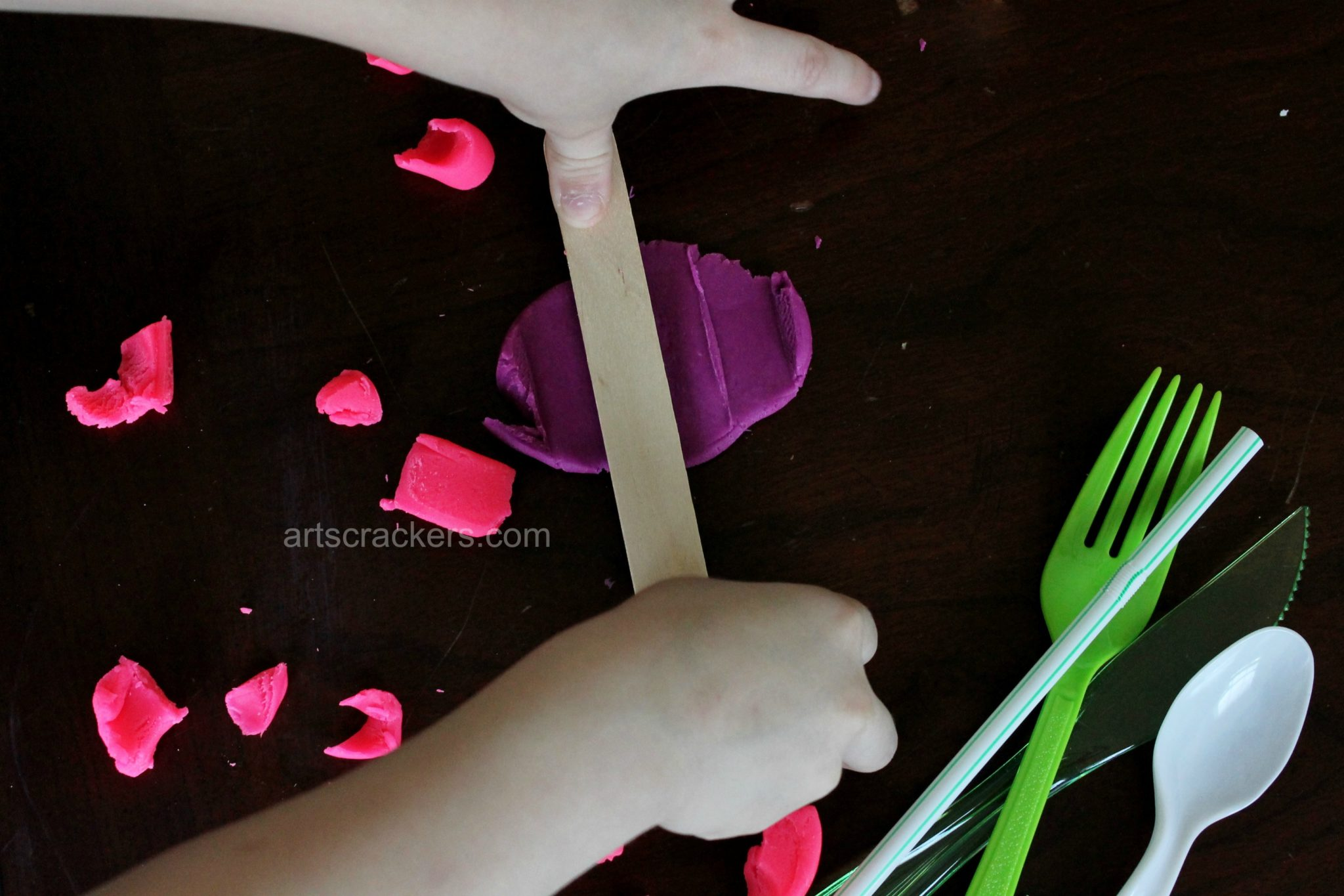 Playdough Tools for Fine Motor Skills Flattening