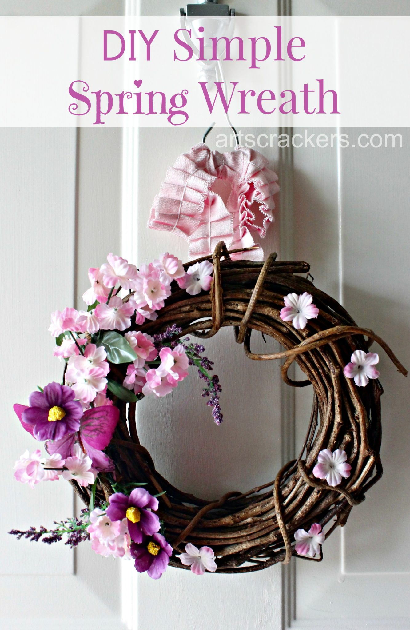 Simple Spring Twig Wreath DIY Tutorial. Click the picture to view the tutorial.