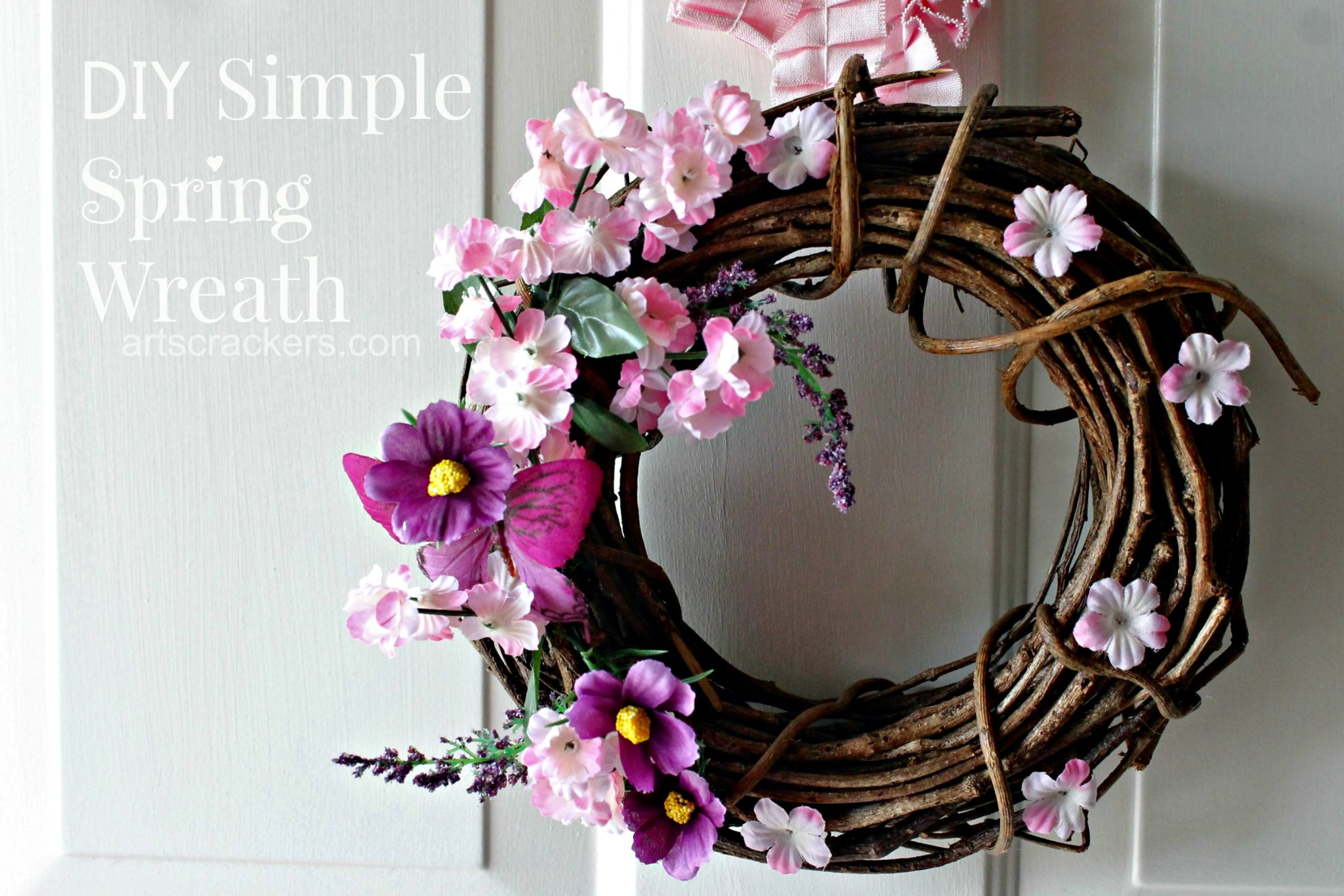 Simple Spring Wreath DIY. Click the picture to view the tutorial.