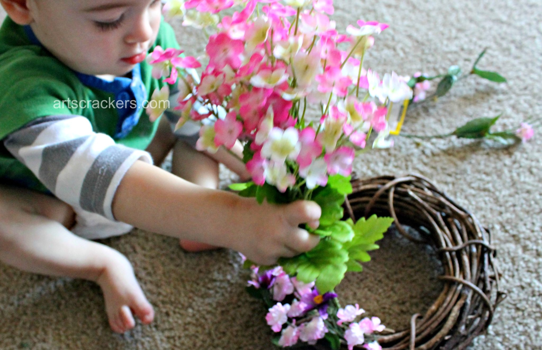 Spring Wreath DIY Son Helping
