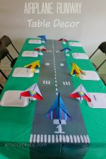 DIY Table Runner Runway and Place Cards   Airplane Party Theme