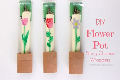 DIY Flower Pot String Cheese Wrappers