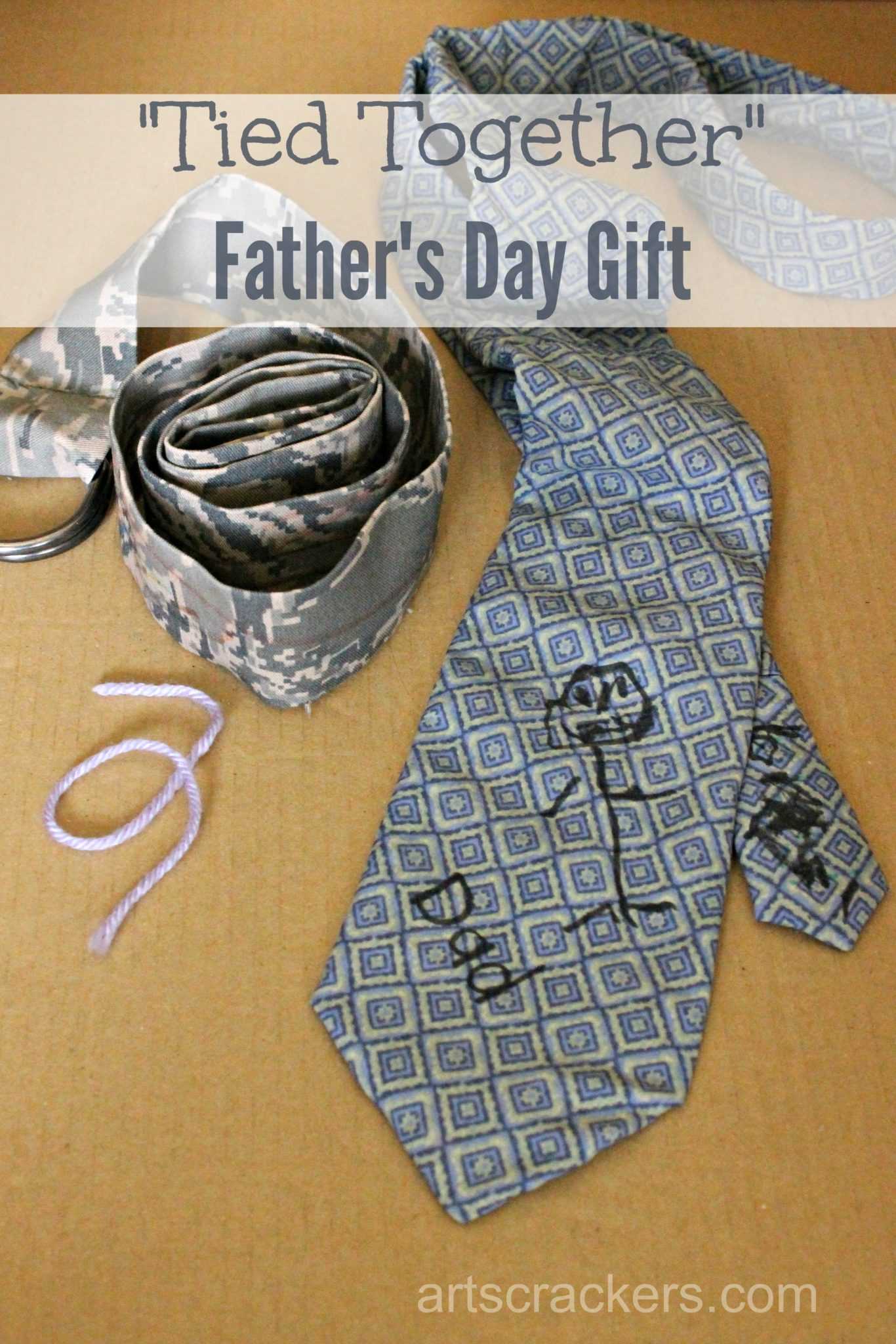 Fathers Day Tied Together Gift Idea. Click the picture to view a tutorial.