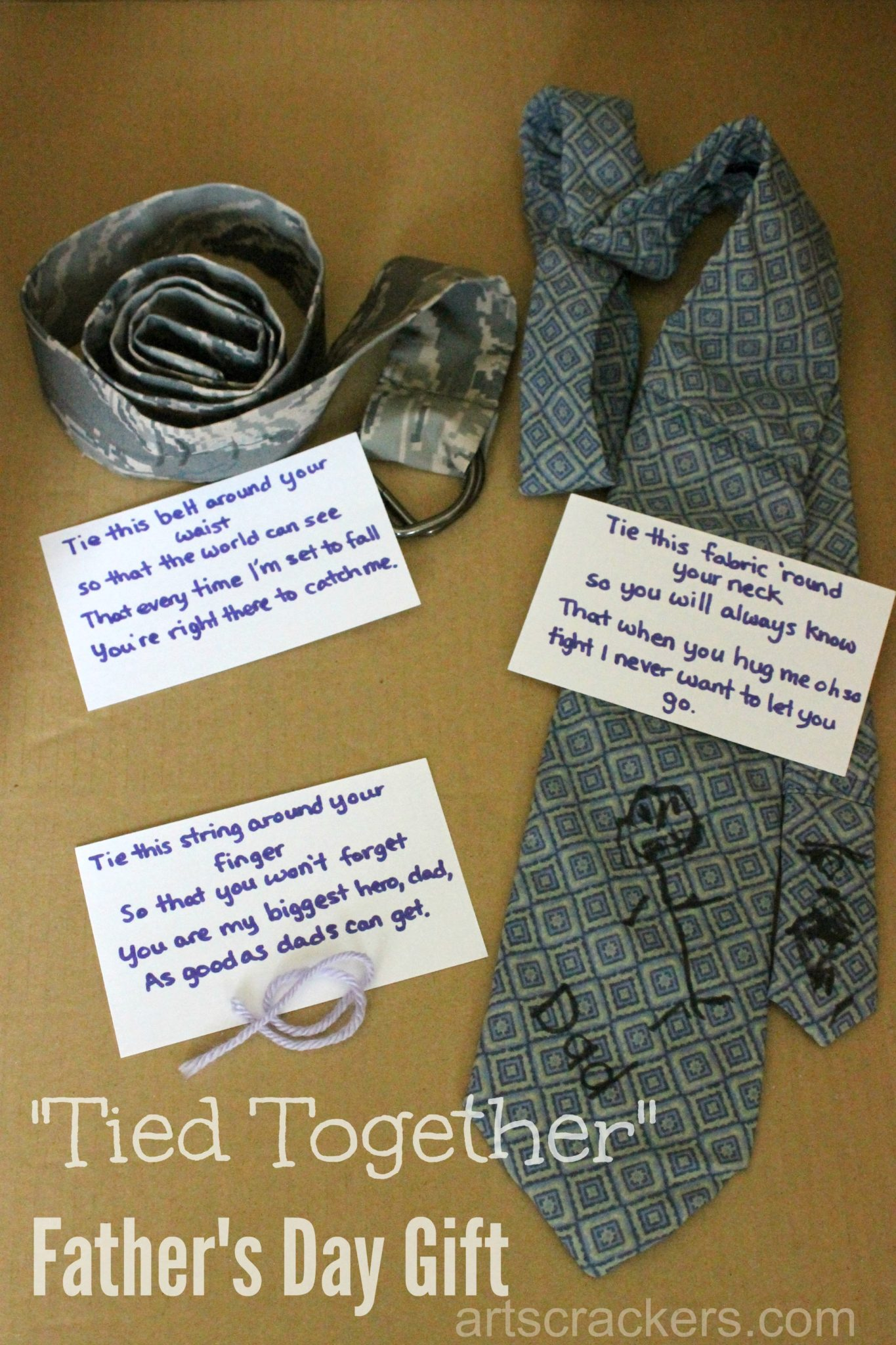 Fathers Day Tied Together Handmade Gift Set. Click the picture to view a tutorial.