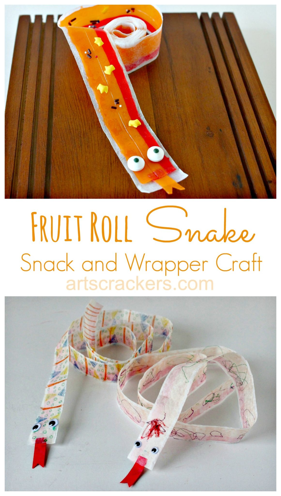 Fruit Roll Snake Snack and Wrapper Craft. Click the picture to get the tutorial.