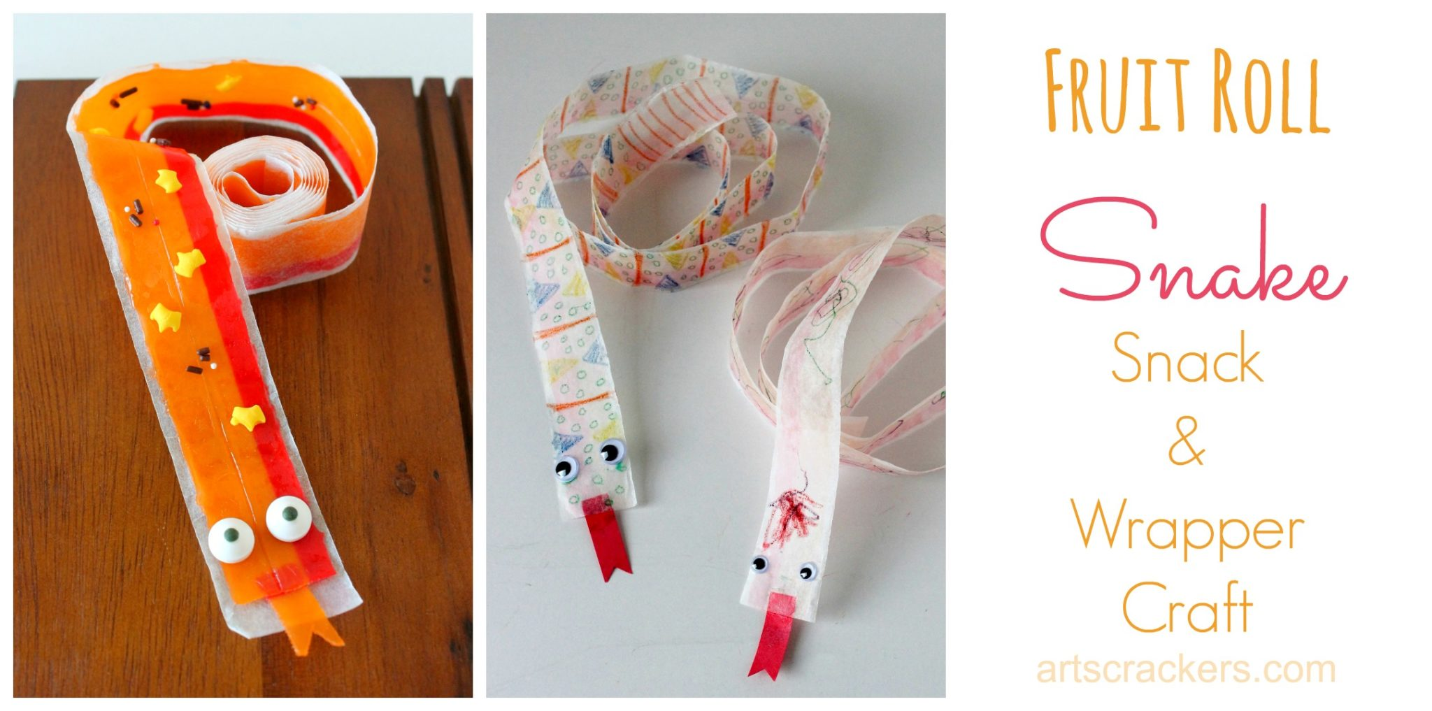Fruit Roll Snake Snack and Wrapper Kid Crafts