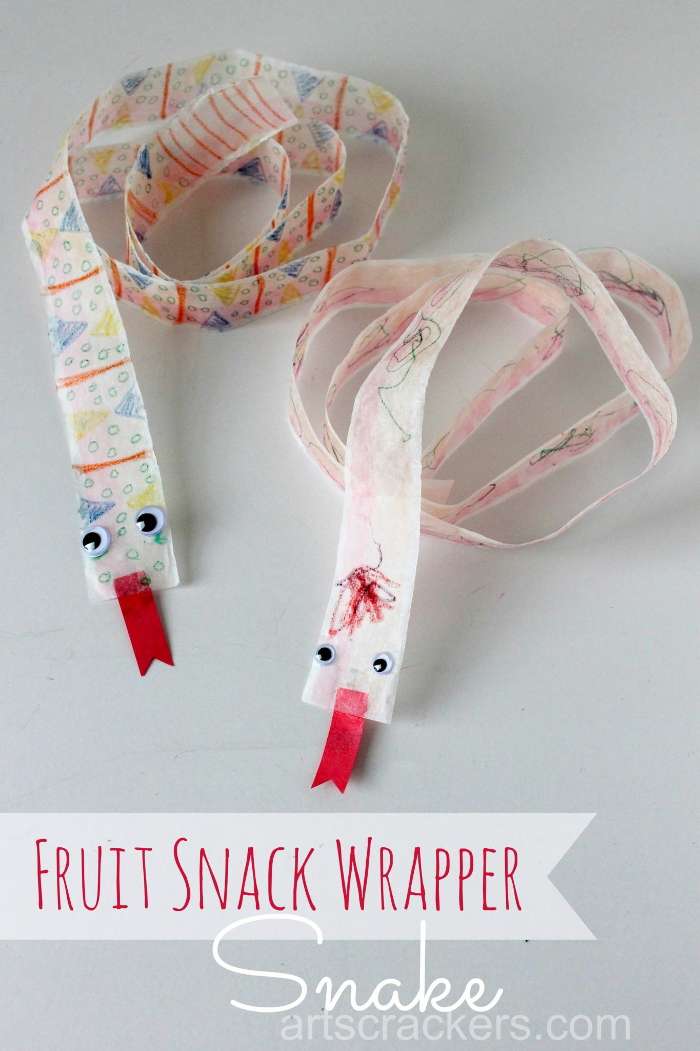 Fruit Snack Wrapper Snake Craft. Click the picture to get the tutorial.