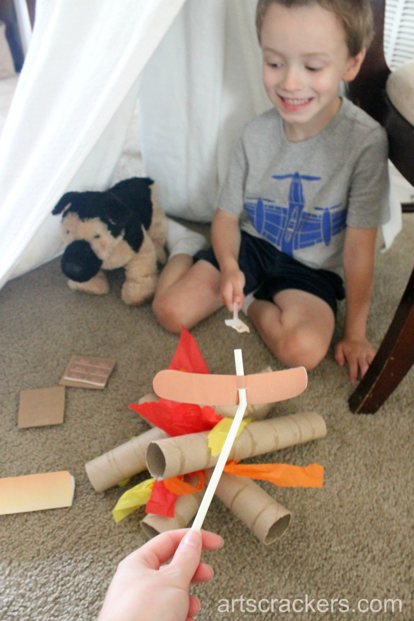 Indoor Camping Imaginative Play Roasting Smores and Hot Dogs