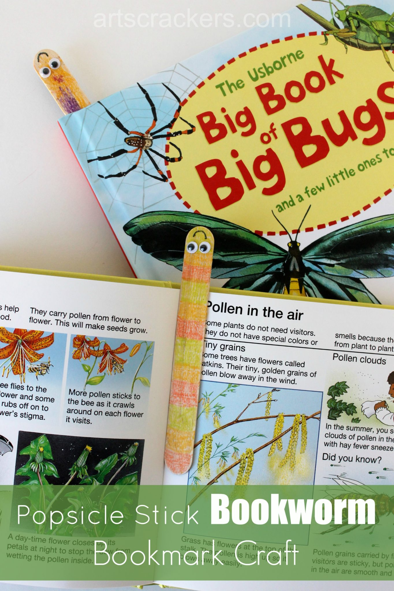 Wooden Craft Stick Bookworm Bookmark Kid Craft. Click the picture to see the tutorial.