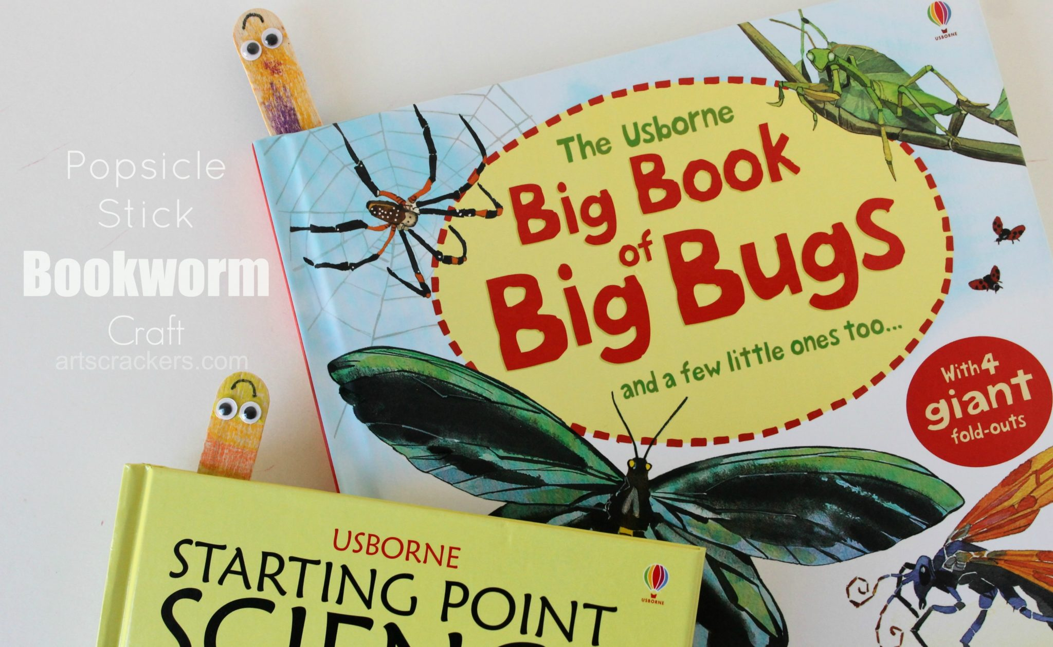Wooden Craft Stick Bookworm Bookmark. Click the picture to see the tutorial.