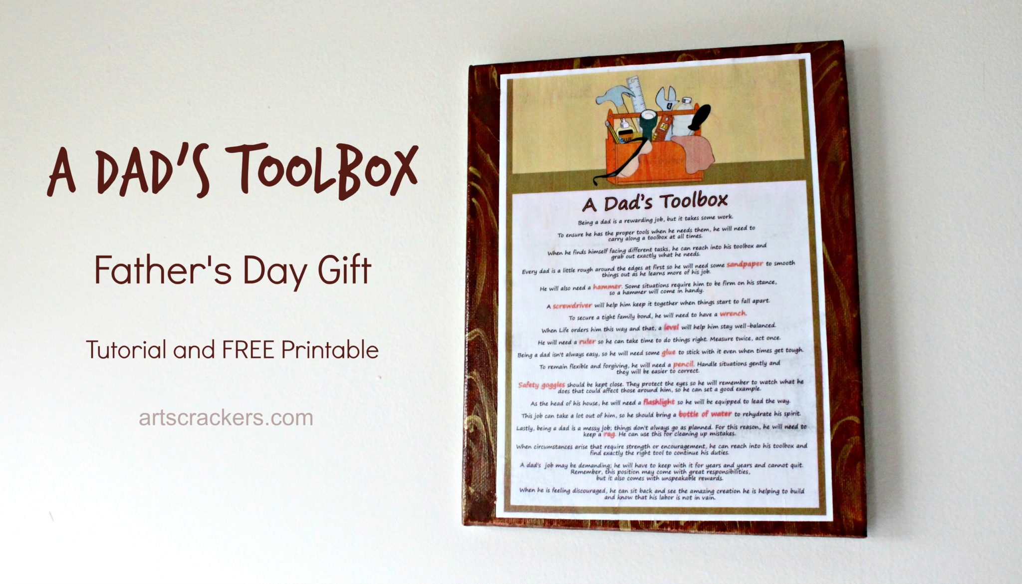 A Dad's Toolbox Father's Day Gift and Free Printable