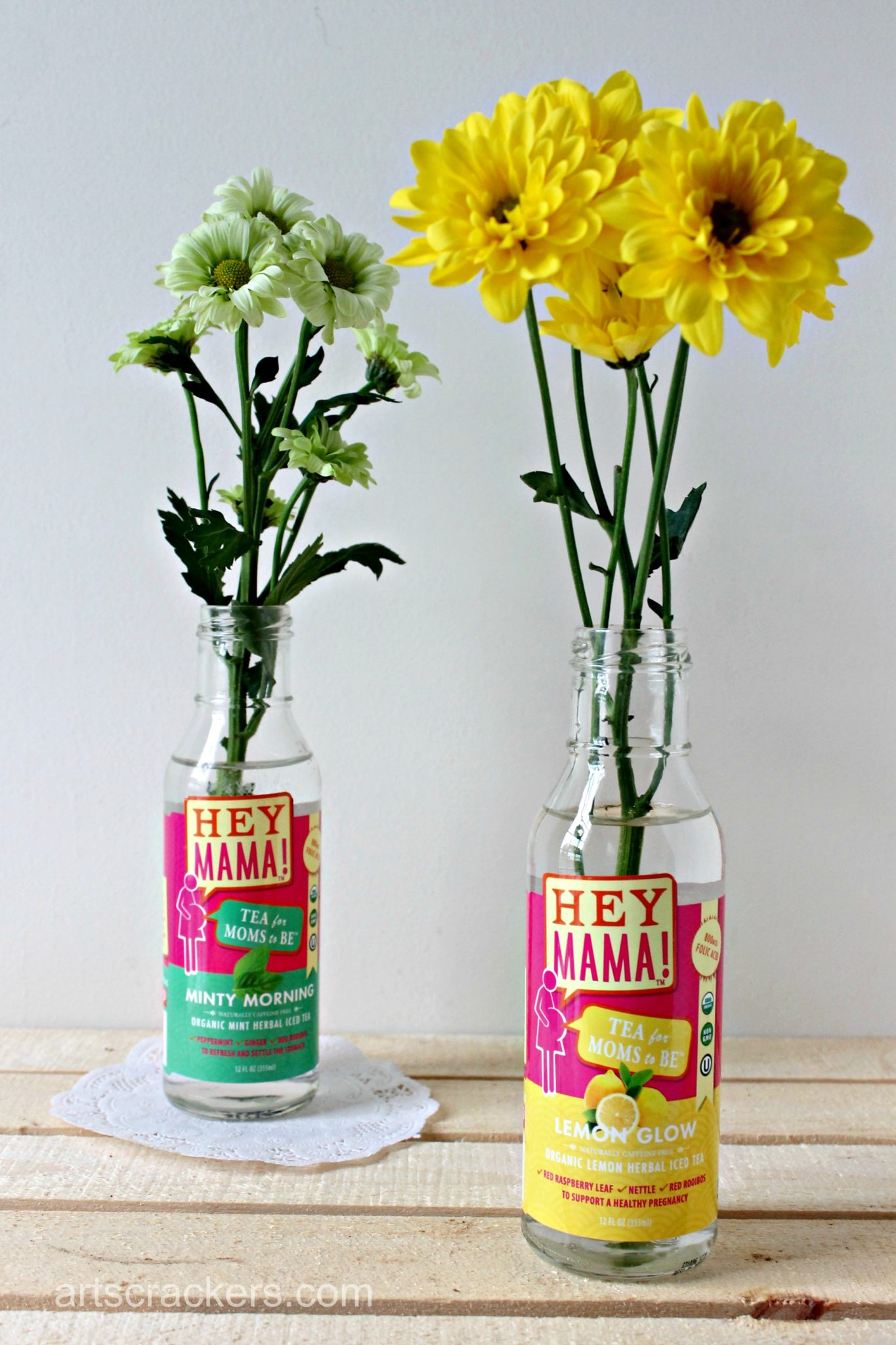 Hey Mama Teas Bottle Flower Vase