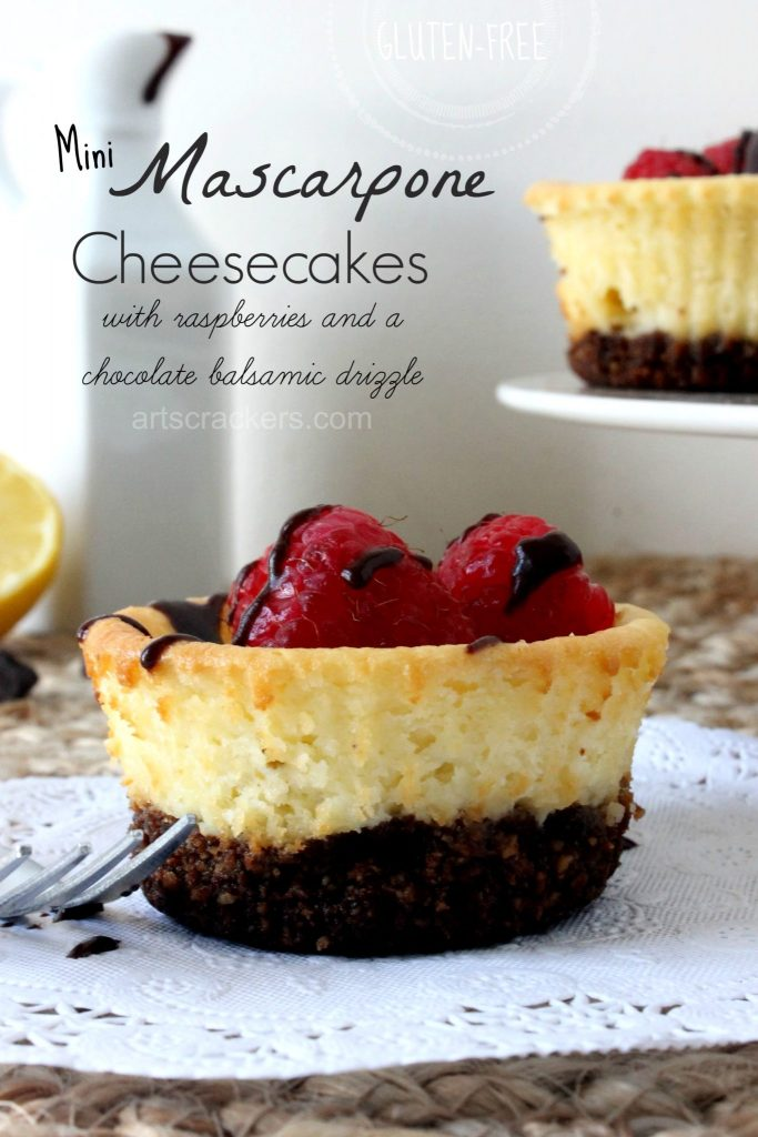 Gluten Free Mini Mascarpone Cheesecakes with Raspberries and Chocolate Balsamic