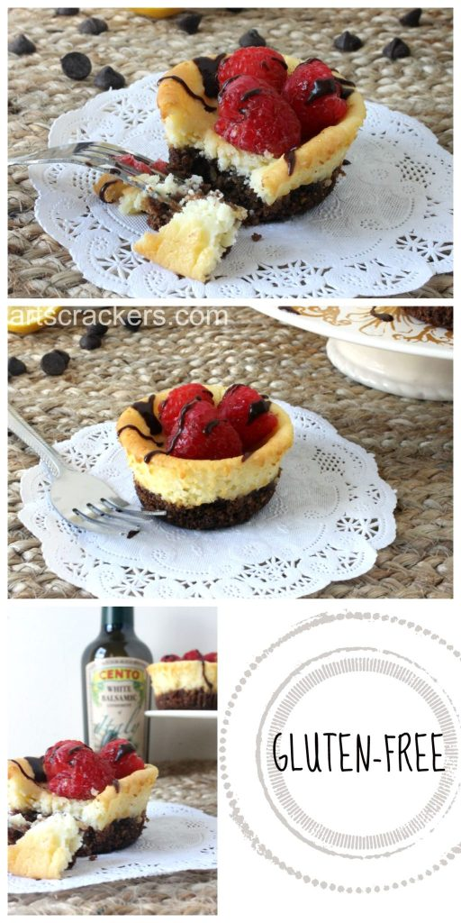 Mini Mascarpone Gluten-Free Cheesecakes with Raspberries and Chocolate Balsamic Drizzle