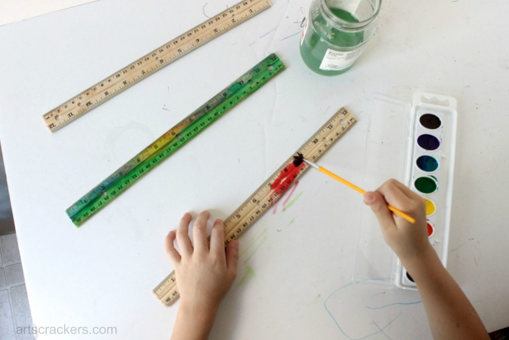 Easy Wooden Ruler Makeover Watercolor