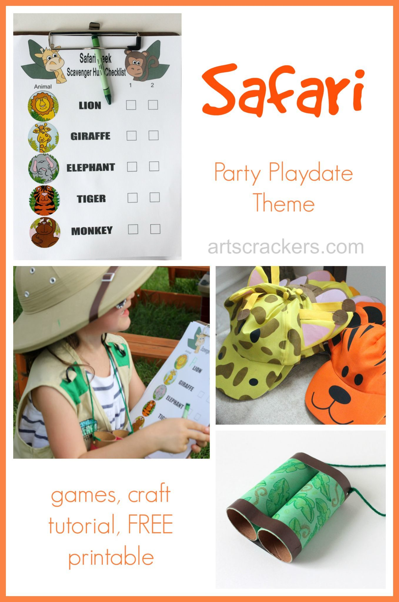 Safari Party Playdate Theme plus Games, Tutorial, and FREE Printable