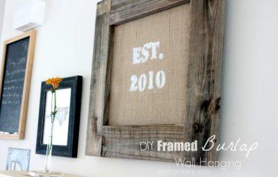 Framed Burlap Wall Hanging