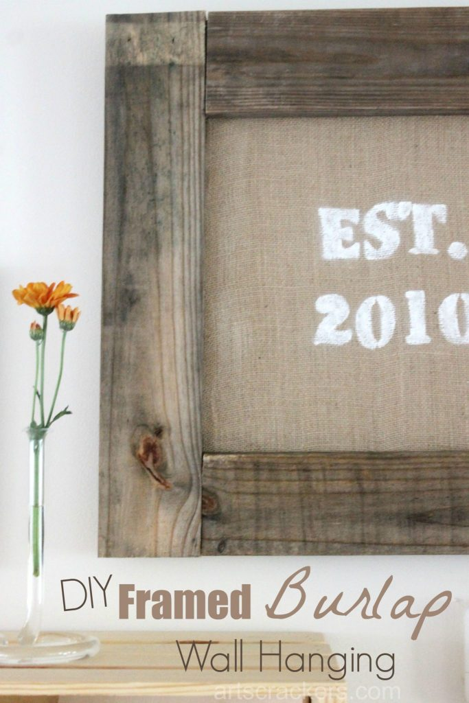 Framed Custom Rustic Burlap Wall Hanging Tutorial