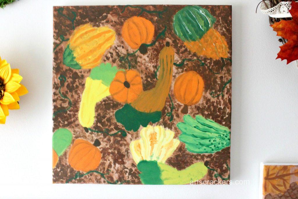 Gourds Handprint and Footprint Canvas Hanging Art
