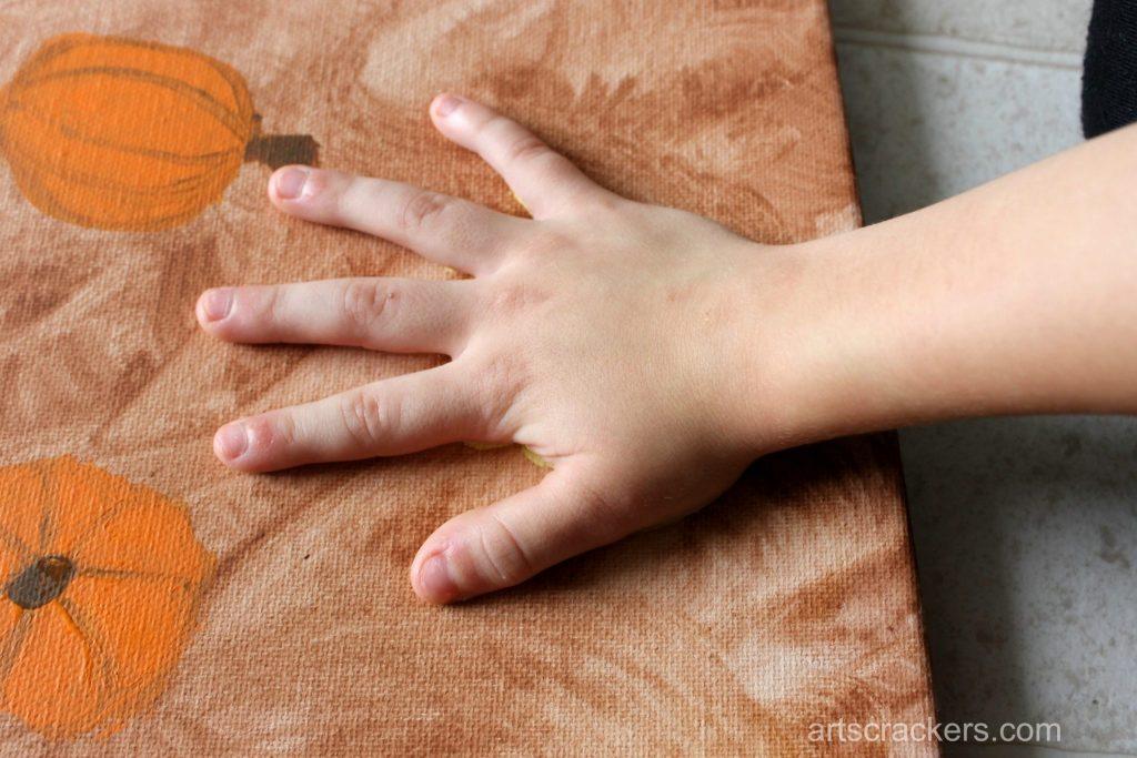 Gourds Handprint and Footprint Canvas Step 10