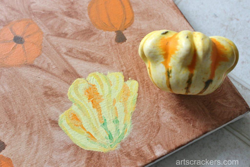 Gourds Handprint and Footprint Canvas Step 12