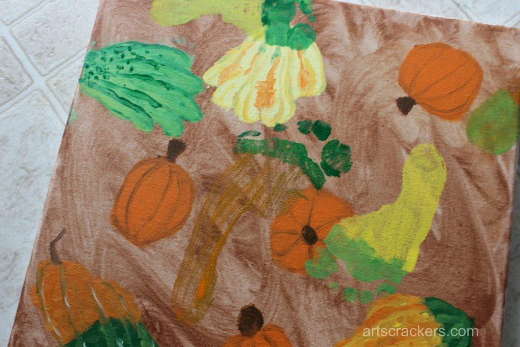 Gourds Handprint and Footprint Canvas Step 17