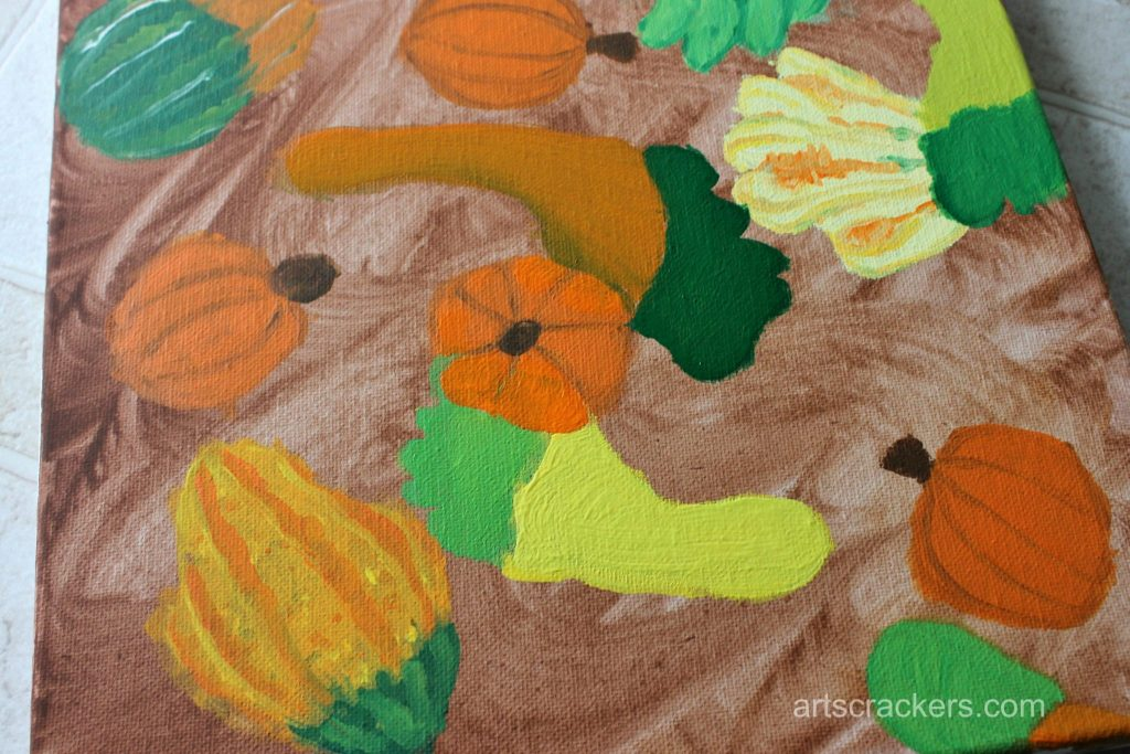 Gourds Handprint and Footprint Canvas Step 18