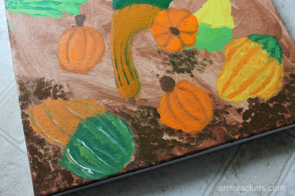 Gourds Handprint and Footprint Canvas Step 19