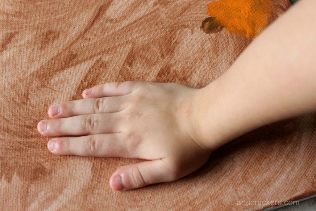 Gourds Handprint and Footprint Canvas Step 3