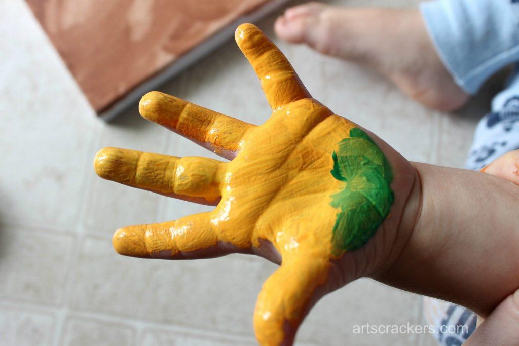 Gourds Handprint and Footprint Canvas Step 6