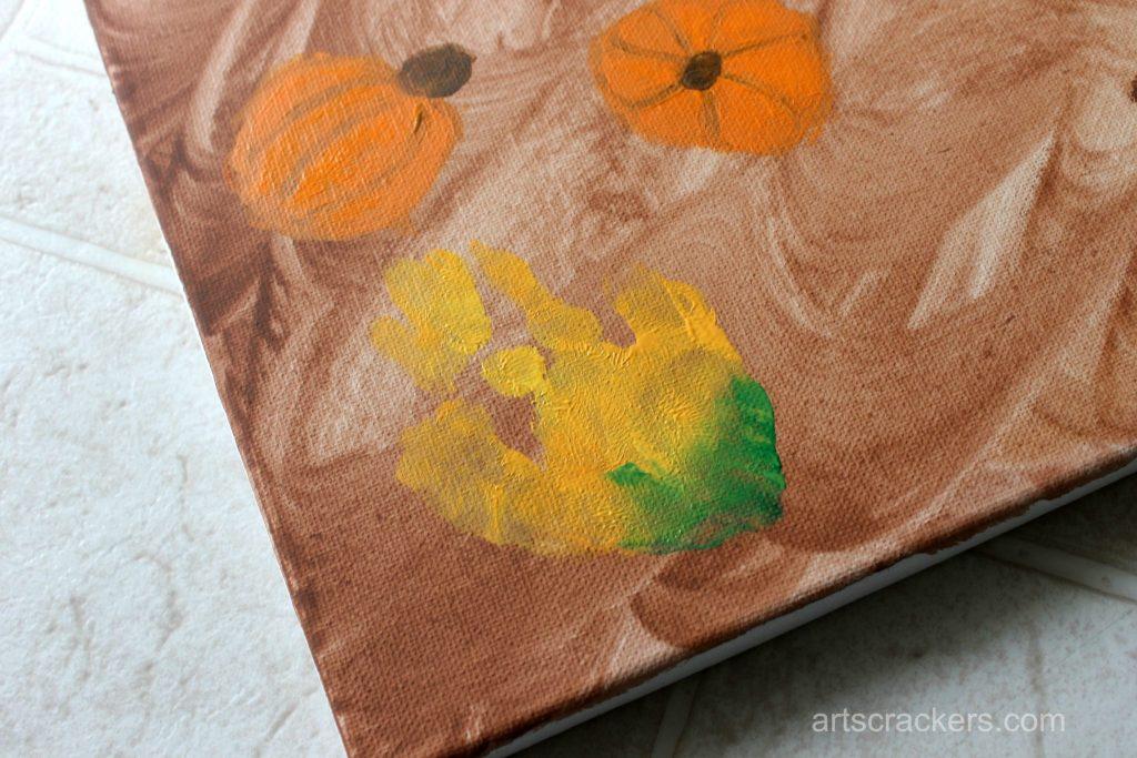 Gourds Handprint and Footprint Canvas Step 7