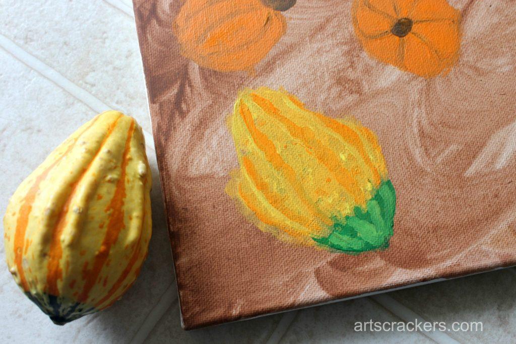 Gourds Handprint and Footprint Canvas Step 8