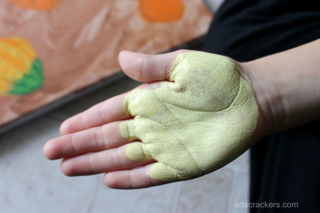 Gourds Handprint and Footprint Canvas Step 9