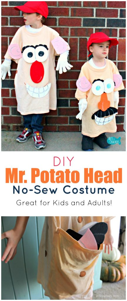 This No-Sew Mr. Potato Head Costume is so fun for dressing up and works for both kids and adults. Tutorial at the link | Costume | Halloween | Mr. Potato Head | No-Sew | Dress-Up | Kid Costume | T-Shirt Costume | Trick Or Treat | DIY | Tutorial | Disney | Funny