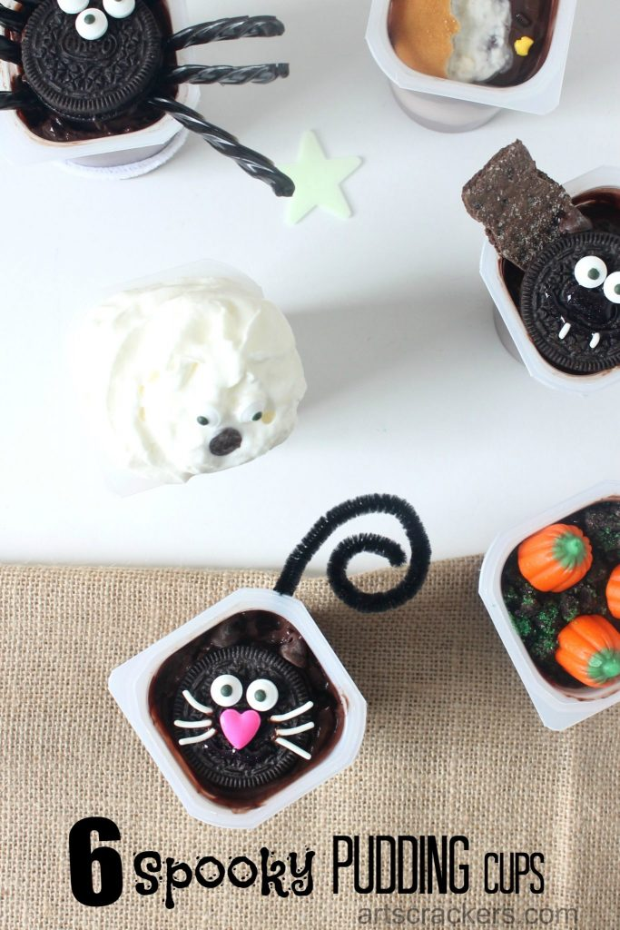 Spookily Cute Pudding Cups for Halloween